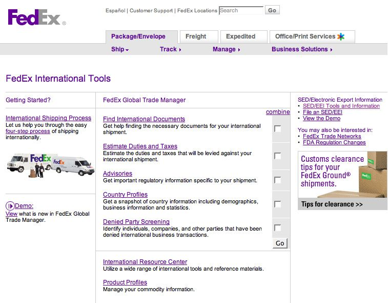 Fed Ex landing page Large version