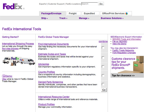Fed Ex landing page