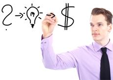 A question mark, a light bulb and a dollar sign