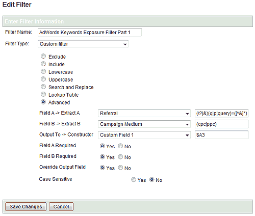 Filter 1 for exposing AdWords keyword data