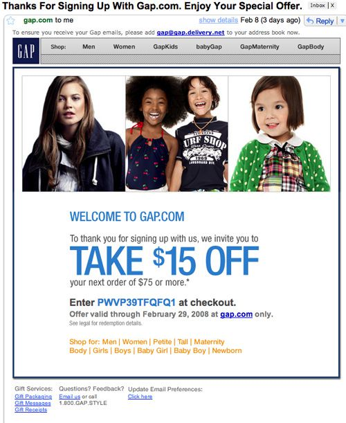 Gap Email Images On