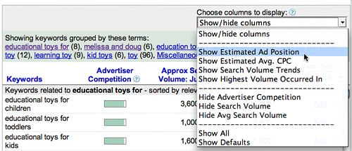 gkthidecolumn Utilizare Google Keyword Research Tool
