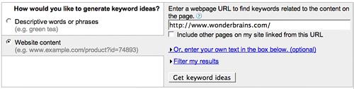 gkturl Utilizare Google Keyword Research Tool