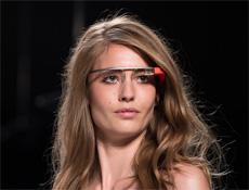 A woman wearing Google glass