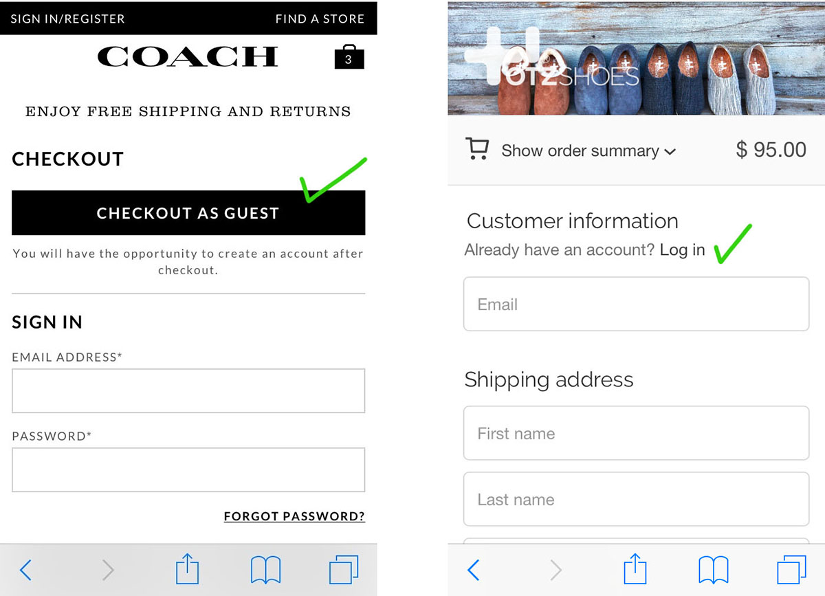good guest mobile checkout pattern