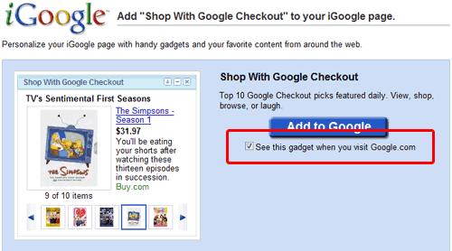 Google checkout Gadget
