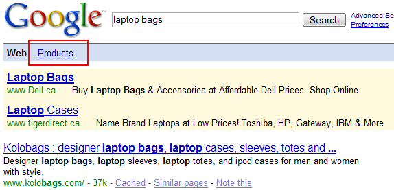 Google product search in navigation