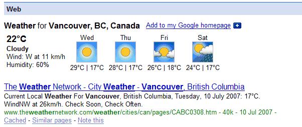 Google weather gadget
