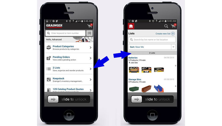 Grainger location based lists in mobile b2b app