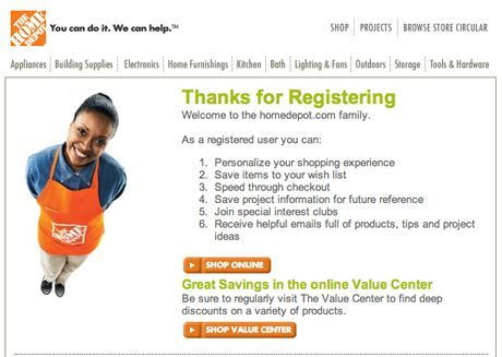 home depot screenshot of benefits of membership