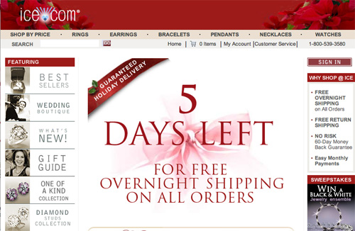 Ice.com Holiday Home Page