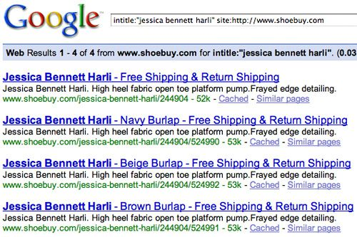 Shoebuy's Jessica Bennett Harli Pages Indexed