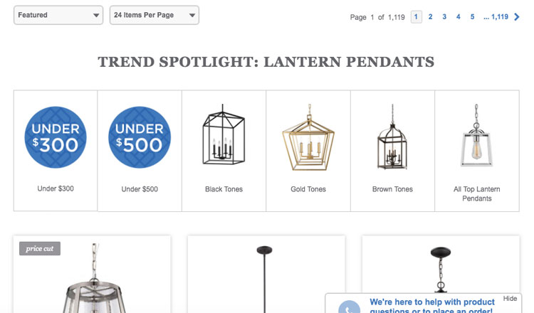 lampsplus guided selling on search page