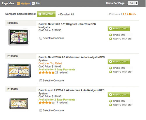 Displaying search results grid view or list view for List of online retailers