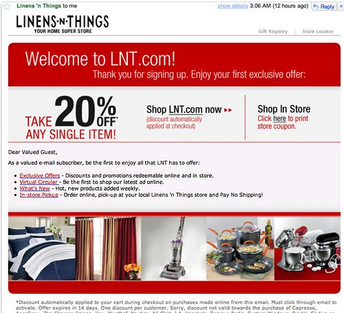 Linens N Things Email Images On