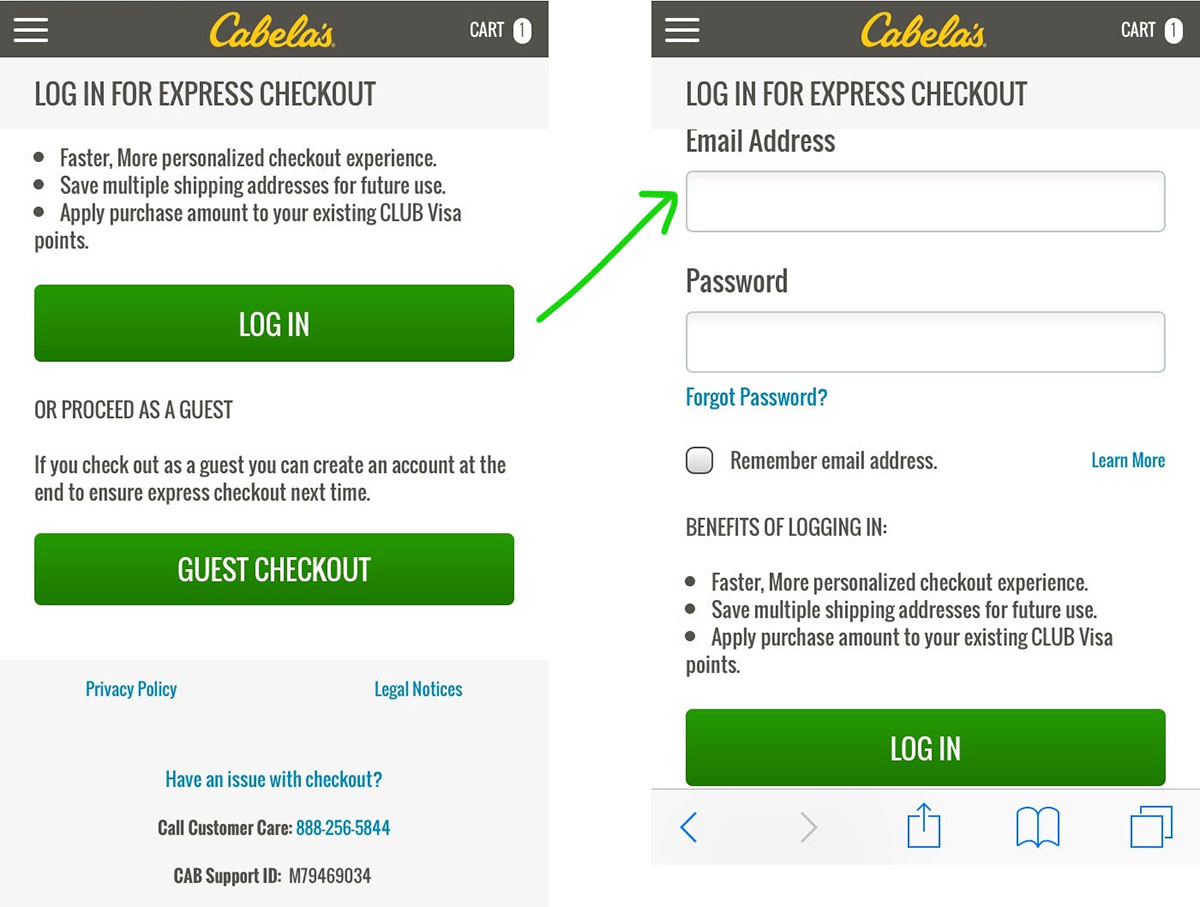 expand log in fields first step of mobile checkout