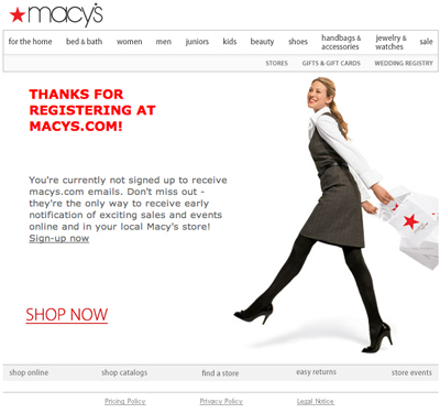 screenshot of Macy