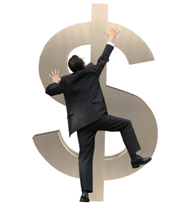 A man climbing a dollar sign