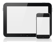 A black tablet and a black mobile phone