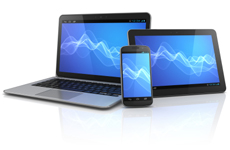 Mobile devices with blue backgrounds