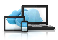 Blue cloud, a laptop, a tablet and a mobile phone