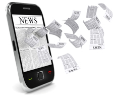 News on a mobile phone