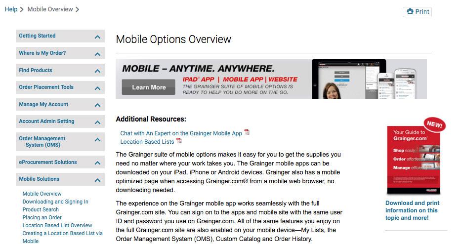 grainger mobile app onboarding