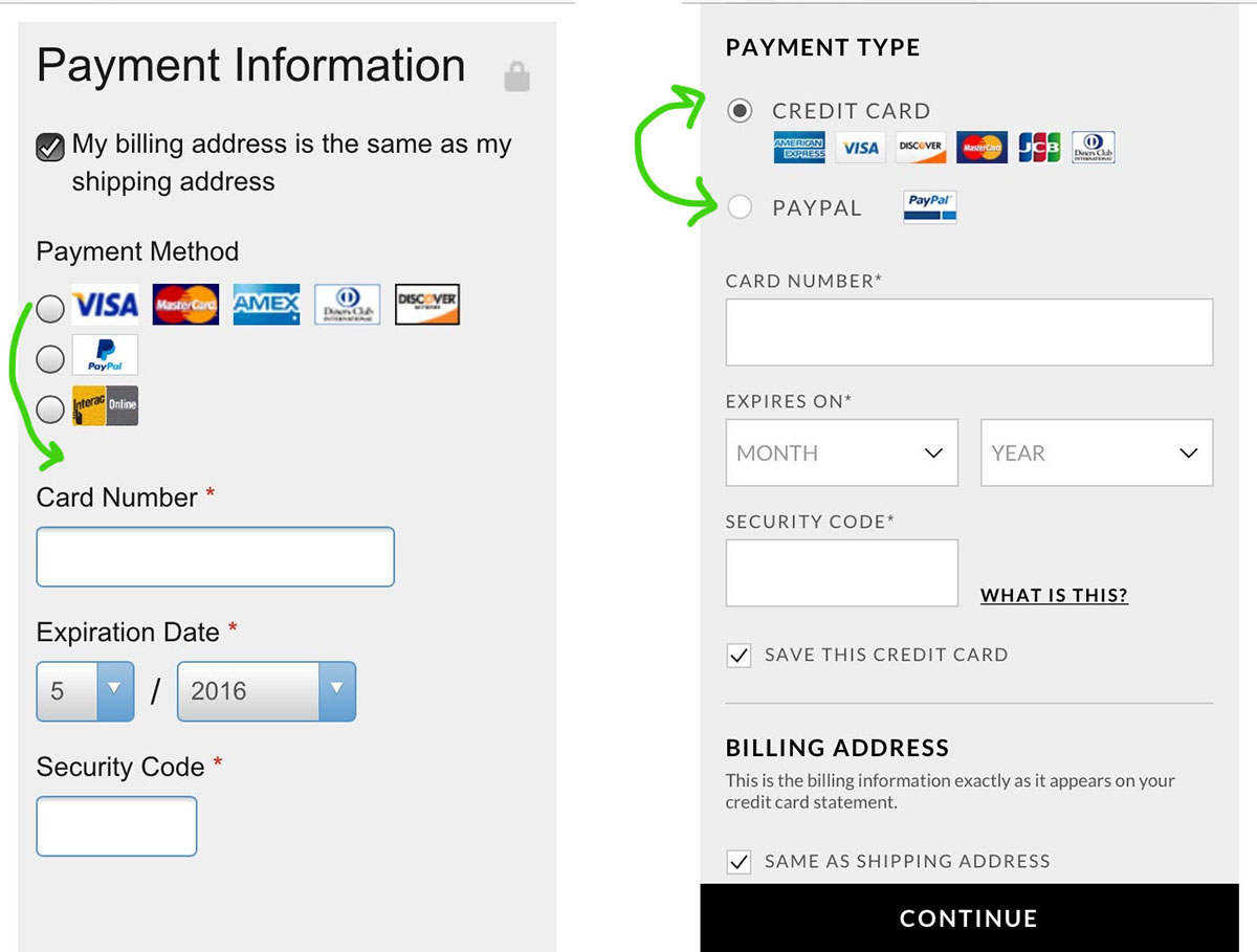 move paypal to radio button