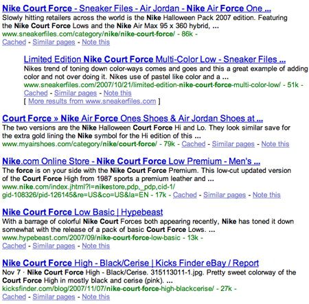 Nike Court Force Results