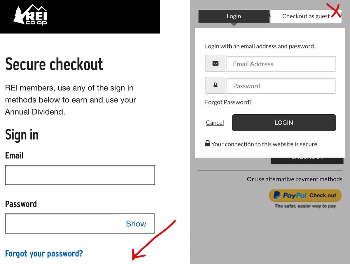 obscure guest checkout on mobile