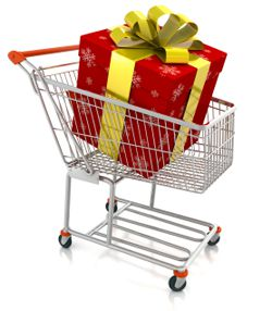 shopping cart with holiday gift