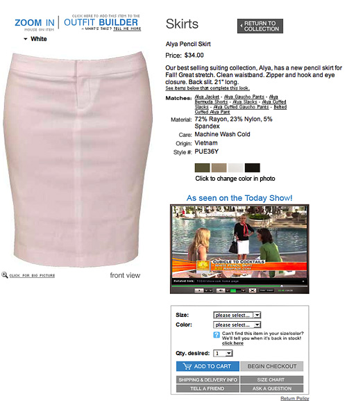 Pencil Skirt Product Page With Video