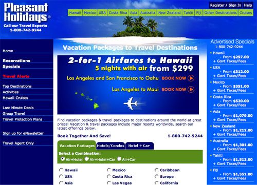 Pleasant Holidays Landing Page