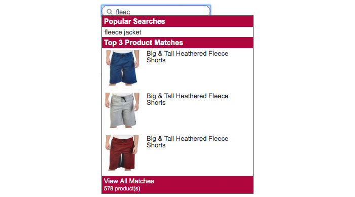 product suggestions mismatch autosuggestions