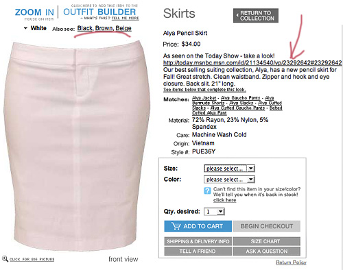Pencil Skirt Product Page