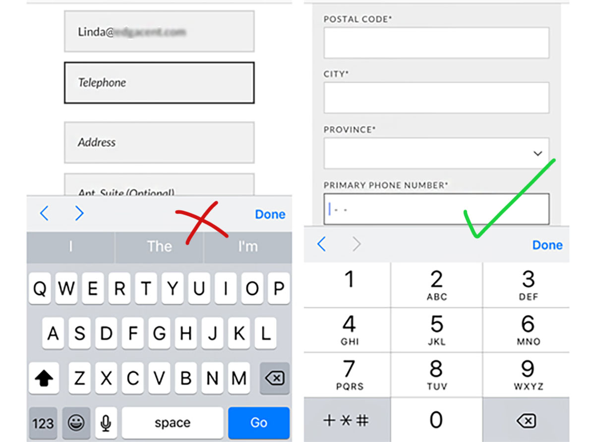 right and wrong mobile keyboard numeric