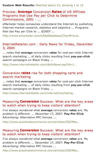 Rollyo Search Results for Conversion Rates