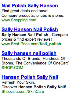 Sally Hansen search ads