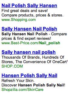 Sally Hansen search ads