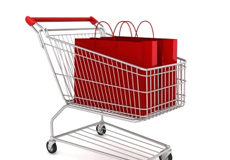 Red shopping bags and a shopping cart