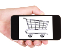 Shopping cart picture in a mobile phone