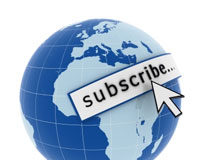 An Earth globe and the word subscribe