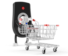 A control remote pushing a shopping cart