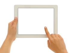 A white tablet with a white screen