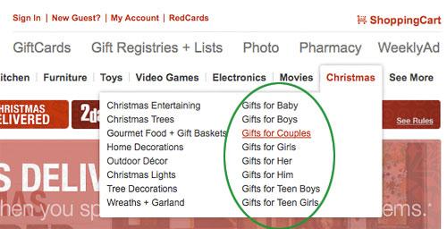 target.com gift categories