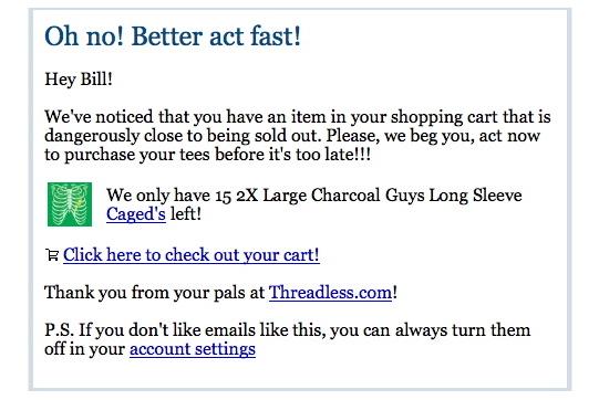 Threadless Reminder Email