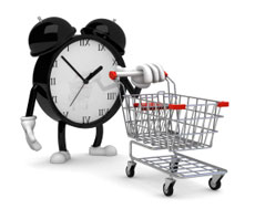 An alarm clock and a shopping cart