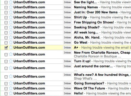 Urban Outfitters Subject Lines