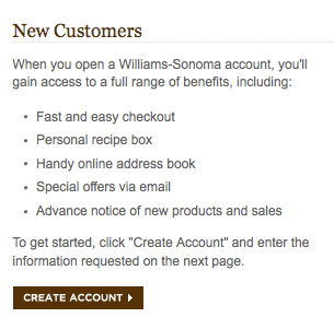 tips for account registration williams sonoma account benefits
