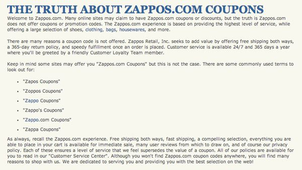 Own your code 10 ways to prevent coupon abuse youll notice its also cleverly search engine optimized for the term zappos coupons and its misspellings for which it ranks tops in google malvernweather Images